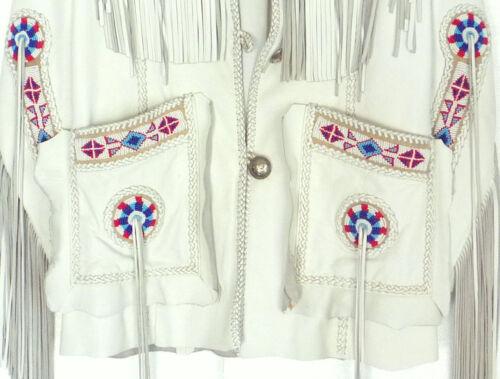 des cuir années 80 en Western Wear pour Cowboy en Veste amérindiennes style hommes à franges daim fBOOqw