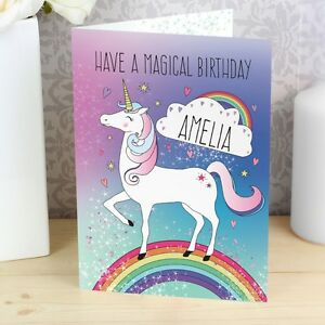 Image Is Loading Personalised Magical Unicorn Card Girls Birthday Gift Fast