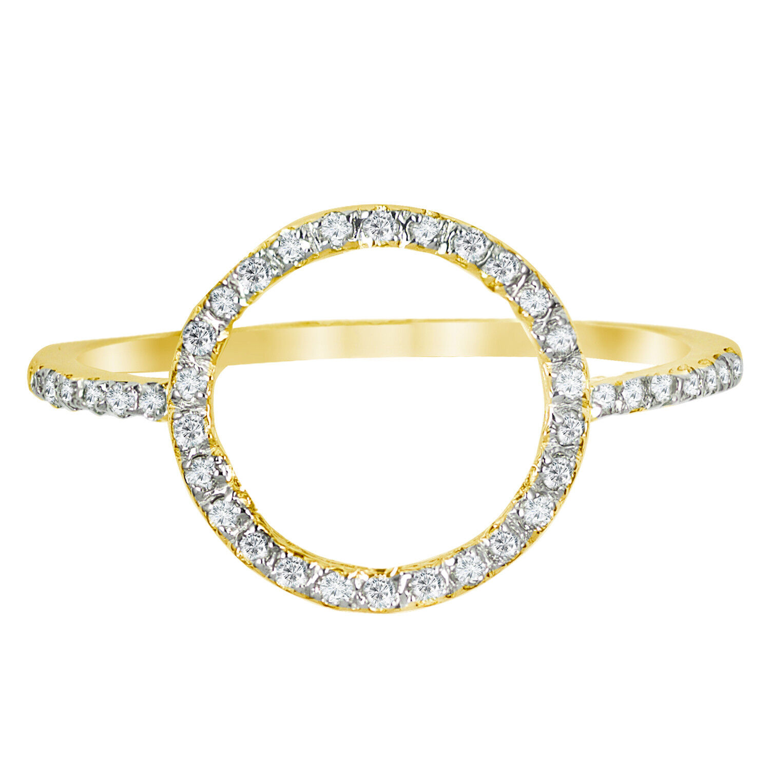 14k gold 0.25ctw Diamond Open Circle Ring Size 6  O  Ring Handmade in USA NEW