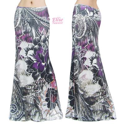 Floral Jewel Purple Sublimation high waist maxi long skirt S//M//L//XL//1XL//2XL//3XL