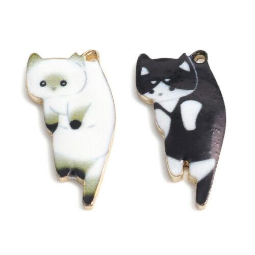 10Pcs Enamel Cat Alloy Charms Pendants DIY Necklace Jewelry Making Accessories
