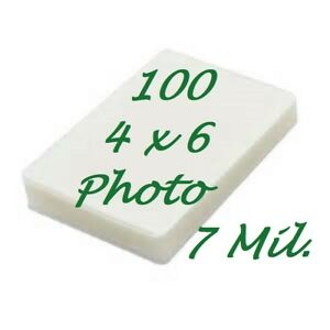 4 x 6 Laminating Laminator Pouches Sheets 4-1/4 x 6-1/4 100 pk 7 Mil Scotch Qual