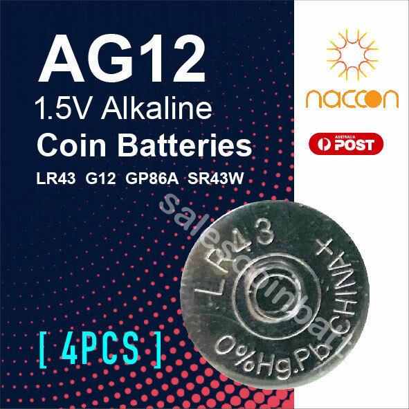4x Naccon AG12 LR43 1.5V Cell Coin Alkaline Button Battery Batteries Stock Mel
