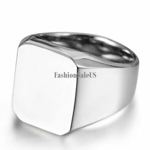 New-Polished-Silver-tone-Biker-Signet-Stainless-Steel-Ring-Mens-Band-Size-8-11