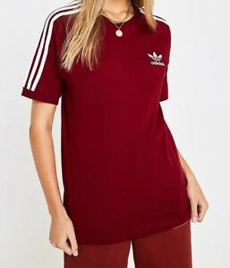 Women-Adidas-California-Trefoil-T-shirt-short-sleeve-Burgundy