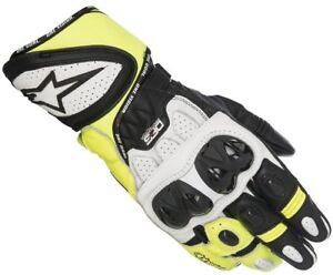NEU-Alpinestars-GP-Plus-R-Racing-Handschuhe-weiss-gelb-L-9-Motorradhandschuhe