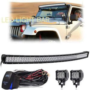 For GMC Sierra 1500 2500 3500HD Pickup 54inch 312W Led Light Bar Curved Kit