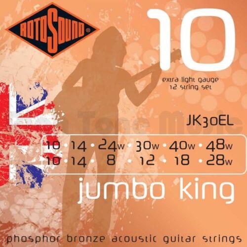 Rotosound Jumbo King 10 Phosphor Bronze Acoustic 12 String Jk30el