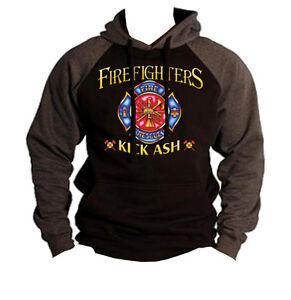 New Firefighter Kick Ash Raglan Hoodie sweatshirt Rescue EMS fire fighter hero
