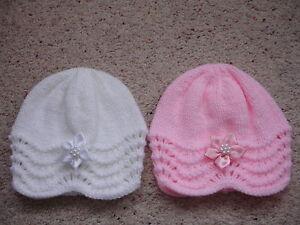 BRAND NEW HAND KNITTED NEWBORN BABY BEANIE HAT