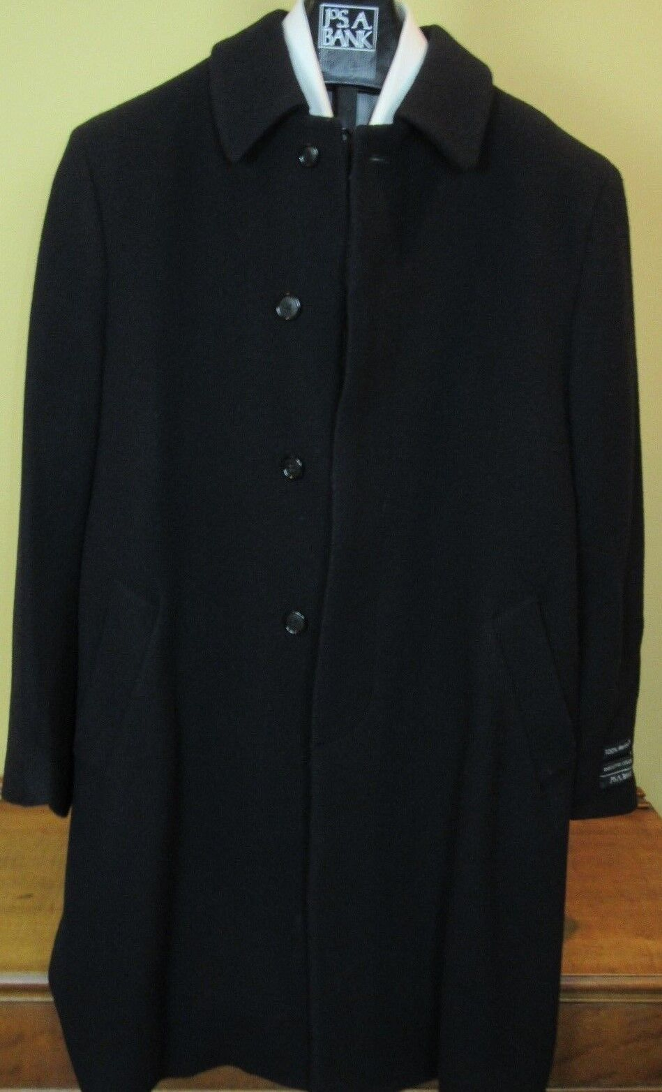 495 New Jos A Bank 100% Merino wool Solid Navy single breasted topcoat  42 L