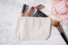 Canvas Make Up Bag Pencil Case Zipper Zipped Zip Plain