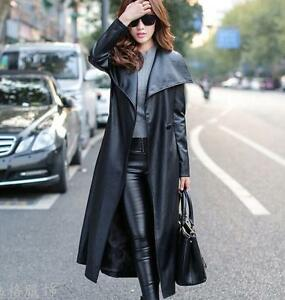 Womens-Black-Pu-Leather-Long-Jacket-Slim-Fit-Motorcycle-Trench-Coat-overcoat
