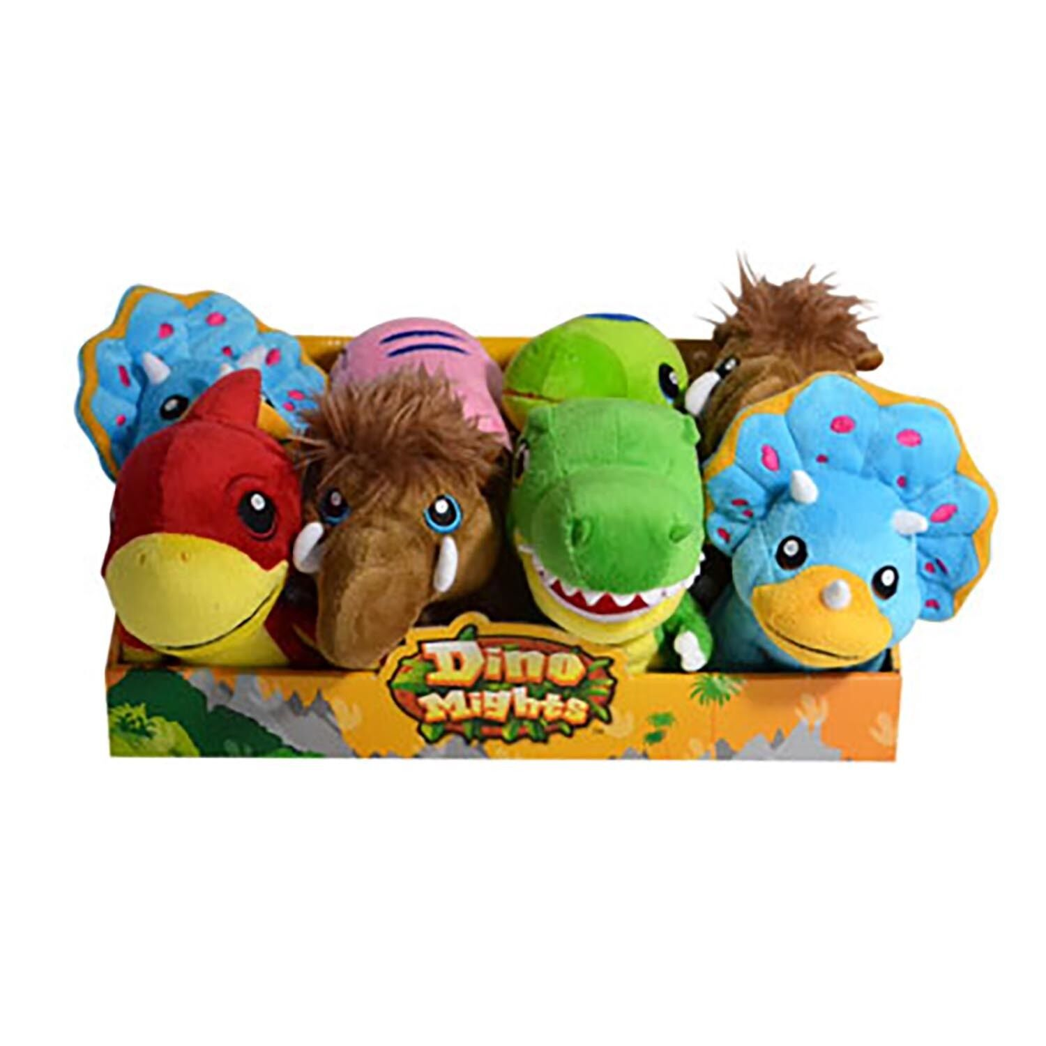 DINO MIGHTS DINOSAURS SET OF 6 SCHOOL BAG TAG PLUSH CLIP-ONS 8cm FREE DELIVERY
