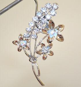 SPILLA-ARGENTO-donna-fiore-strass-cristalli-fermaglio-scialle-cardigan-sposa-CC2