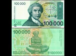 P27Banknote Free S/&H Republika Hrvatska 1993 100000 Dinara UNC Croatia