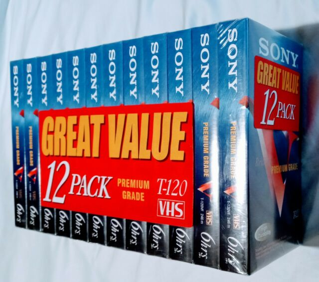 SONY 12 Pack T-120VF 246m 6 HRS Blank Premium Grade VHS VCR Video Tapes Sealed
