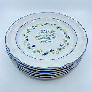 """VINTAGE Floral Expressions Stoneware Dinner Plates 10.5"""" Set Of 6 Made In Mexico"""