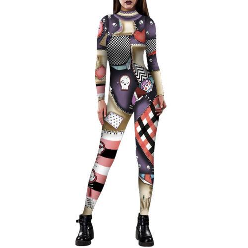 Women/'s Skeleton Bone Frame Jumpsuit Fancy Dead Halloween Cosplay Costume Party