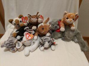 9 Cat Ty Beanie Babies: Nip, Snip, Flip, Zip, Prance,Pounce, Amber,Silver, Beani