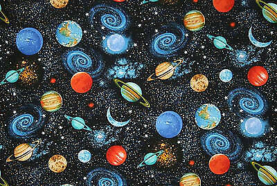 Space Fabric Solar System Universe Planets Night Sky By the Yard FQ HY t6//28