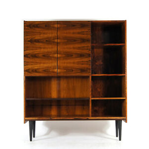 Retro Vintage Danish Rosewood High Bookcase Book Cabinet Display 1960s 1970s