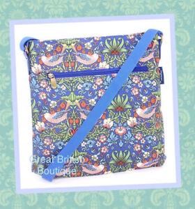 Super-Chic-Oilcloth-Messenger-Bag-Blue-034-Strawberry-Thief-034-by-William-Morris