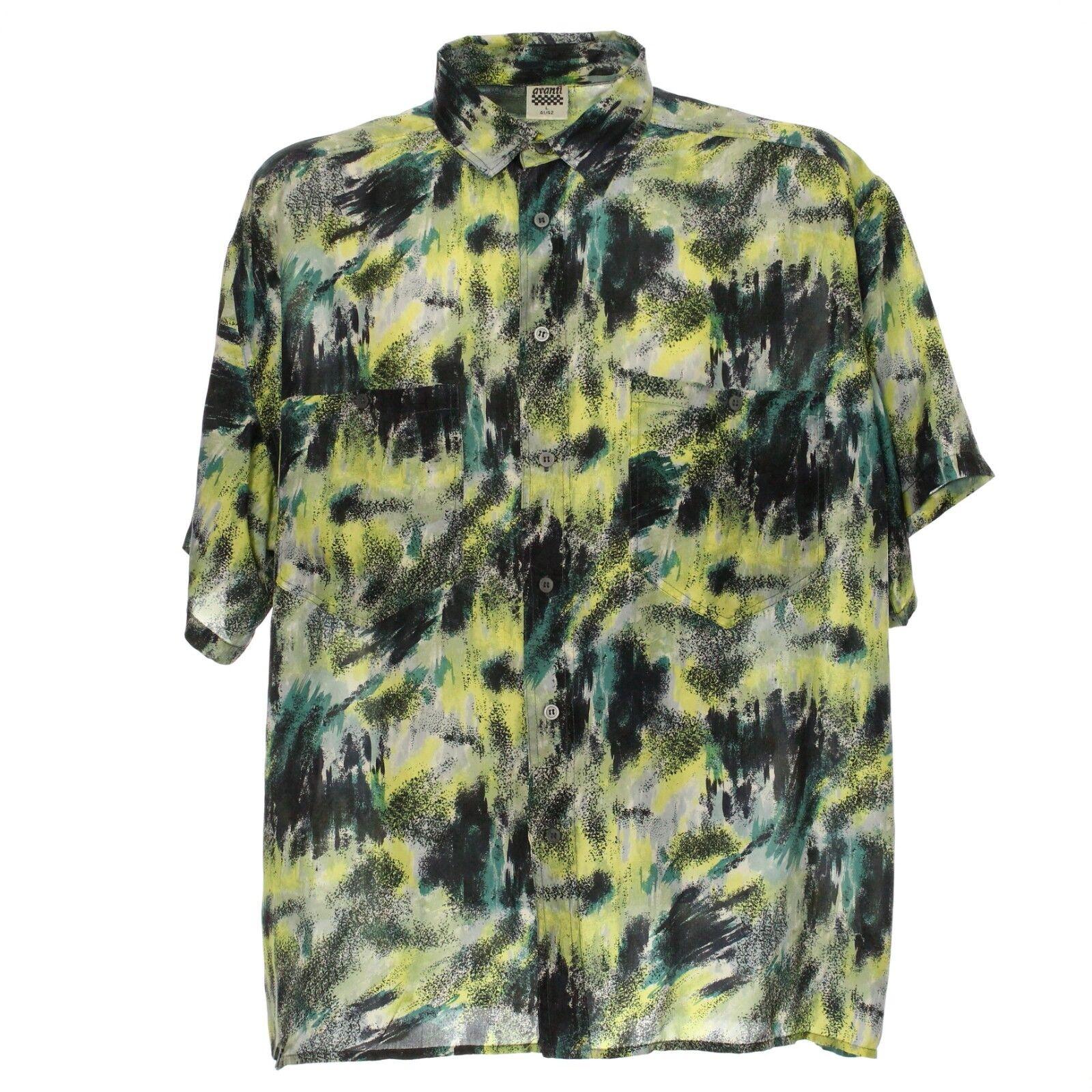 Vintage Kurzarmhemd Seide Silk Größe L Herren Herren Herren Shirt Retro Muster Freizeithemd | Ausgezeichnetes Handwerk  | Online Shop Europe  1ea751