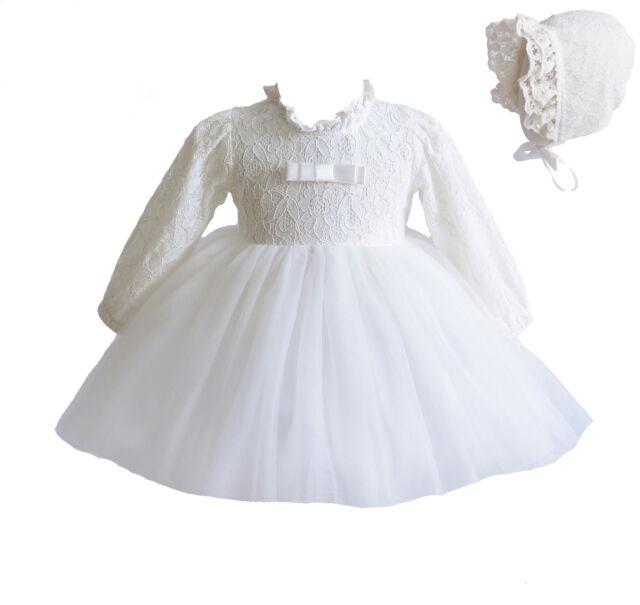 Cinda Bebé Niña de manga larga Marfil encaje bautizo vestido con gorro 0-3   441def808810