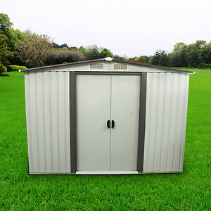8 39 x8 39 outdoor storage shed steel garden utility tool for Garden shed 9x4