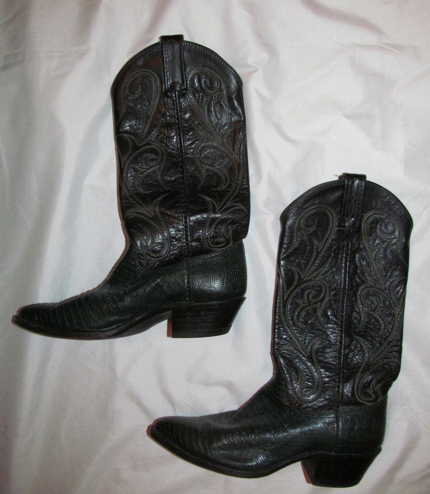 DAN POST dark green and schwarz lizard embroidROT Leder cowboy cowgirl boots 6.5