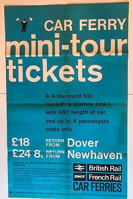 ORIGINAL BRITISH RAIL 1966 TRAIN POSTER - Car Ferry Tickets Dover & Newhaven