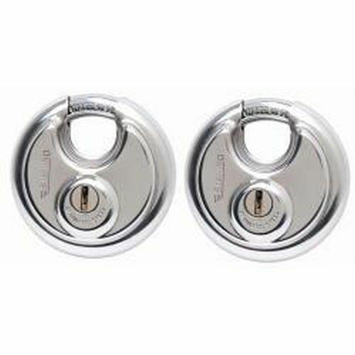Sterling 2 X 70mm Candado Seguridad Pesado Cerrado Grillete disco Twin Pack-con llave un
