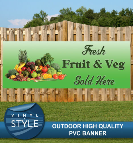 FRESH FRUIT /& VEG SOLD HERE SHOP PVC BANNER PROMOTIONAL VARIOUS SIZES