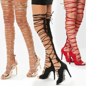 9052e1d78a31 Womens Ladies Lace Up Thigh High Rose Gold Strappy Stiletto Heels ...