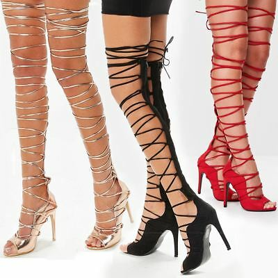 sale uk official site casual shoes Womens Ladies Lace Up Thigh High Rose Gold Strappy Stiletto Heels ...