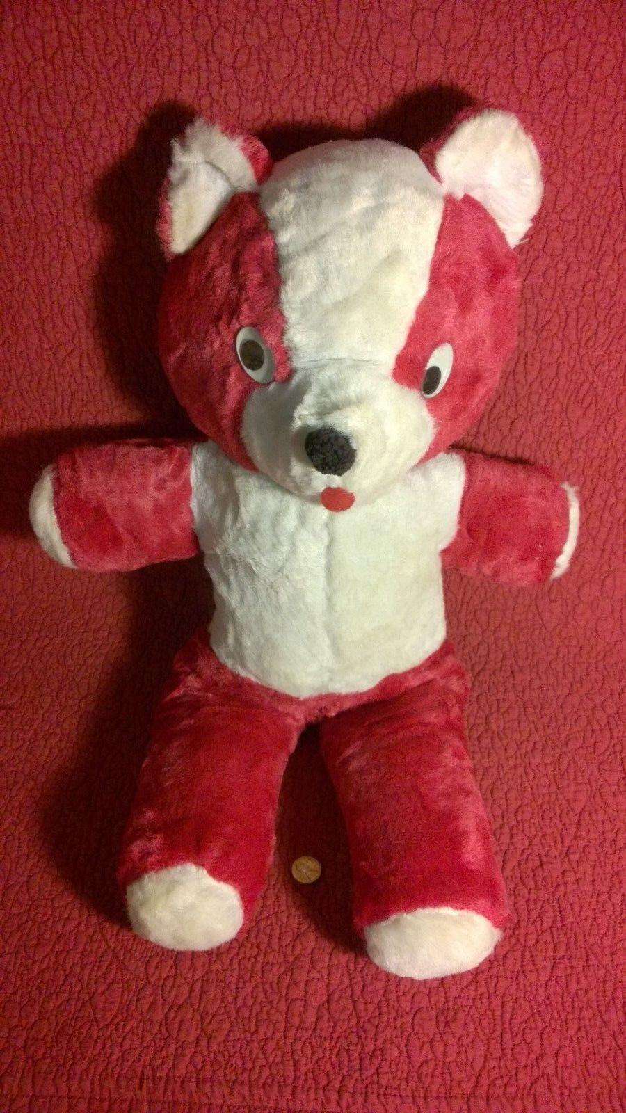 Vintage 22  RED TEDDY BEAR GOOGLE EYES plush stuffed animal toy