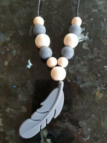 Grey Silicone Feather Teething Necklace with Silicone and Wooden Beads Uk Seller