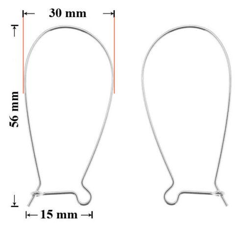 Jewellery Findings Sterling Silver Safety Earring Kidney Wire Hooks 56mm
