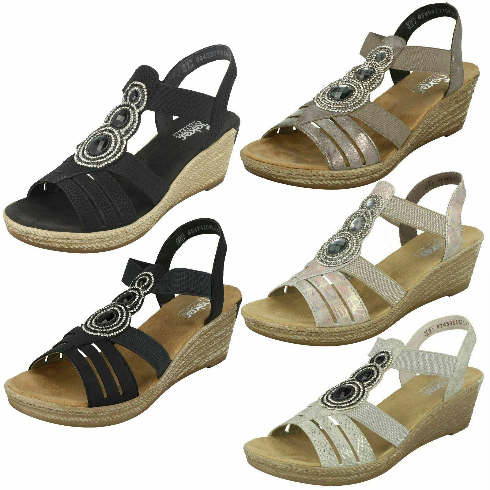 Ladies Rieker 62459 Grey, Black, White, Multi Or bluee Synthetic Wedge Sandals