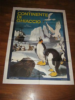 MANIFESTO 1975,CONTINENTE DI GHIACCIO, LUIGI TUROLLA,ANTARTIDE POLO SUD,PINGUINO