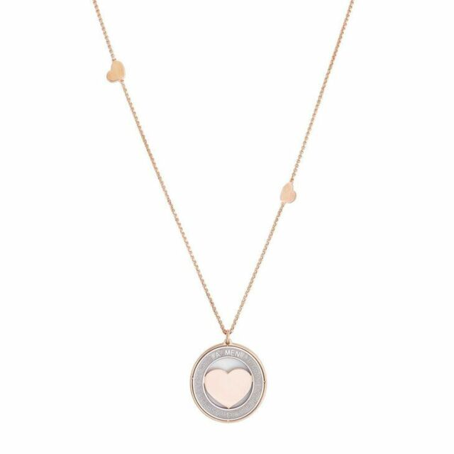 Collana da Donna AMEN CPHR1 Argento 925 Rosato con Ciondolo Cuore Bicolore