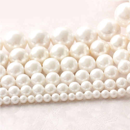 """Wholesale Natural Cultured Freshwater White Pearl Round Loos Beads 14.5/"""" Strand"""