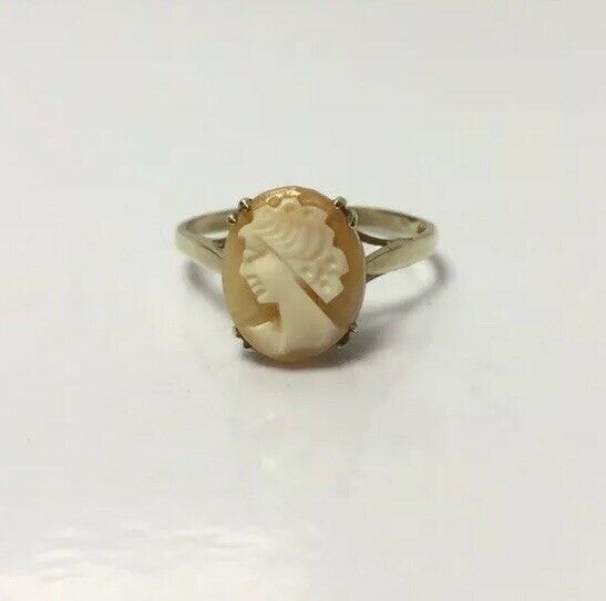 "VINTAGE 9ct gold Cameo Ring UK Size ""S"" Claw Set Hallmarked 2.2g"