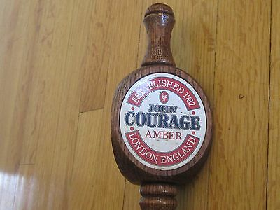 "Imported John Courage Amber Beer Wooden Tap Handle 3 Sided 12"" NEW"