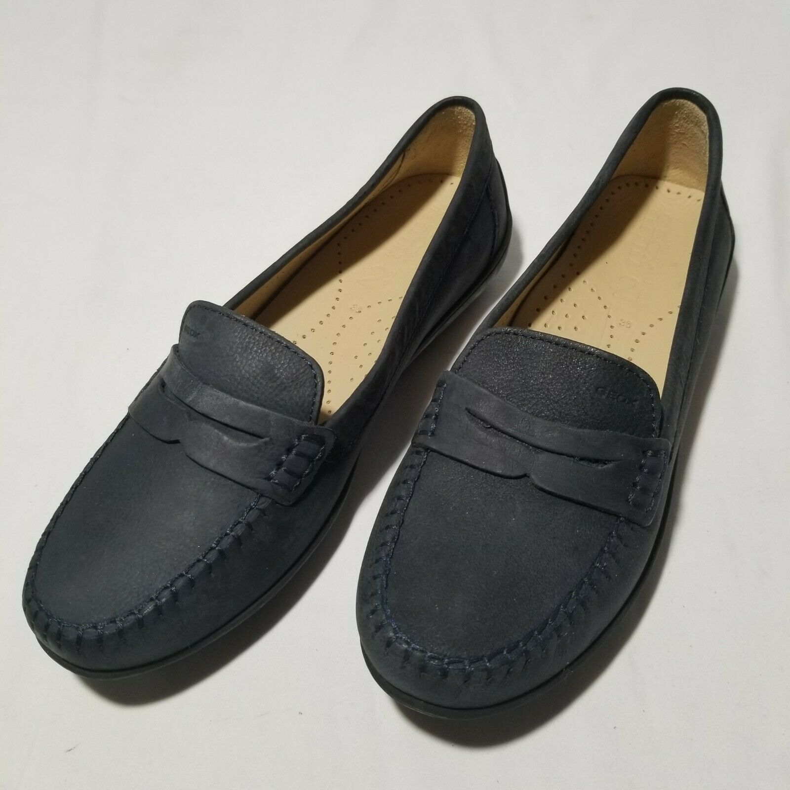 Geox Respira Women's Black 2 fittings italian patent Slip On Loafer shoes EU 36