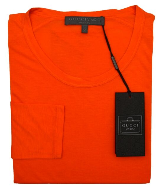 f54a8fcb GUCCI VIAGGIO Collection Long-sleeve Stretch T-shirt, Orange XS/SM ITALY