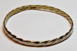Designer-925-HECHO-Mexico-Sterling-Silver-Twisted-Bangle-Bracelet-12-38g