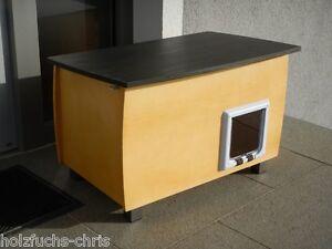 katzenhaus holz xl outdoor wetterfest innen katzenh hle katzenklappe hundeh tte ebay. Black Bedroom Furniture Sets. Home Design Ideas