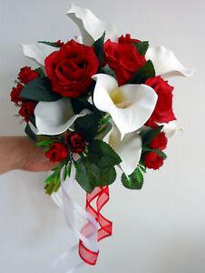 Wedding Posy Bouquet Ivory Calla Lillies Deep Red Roses Ebay